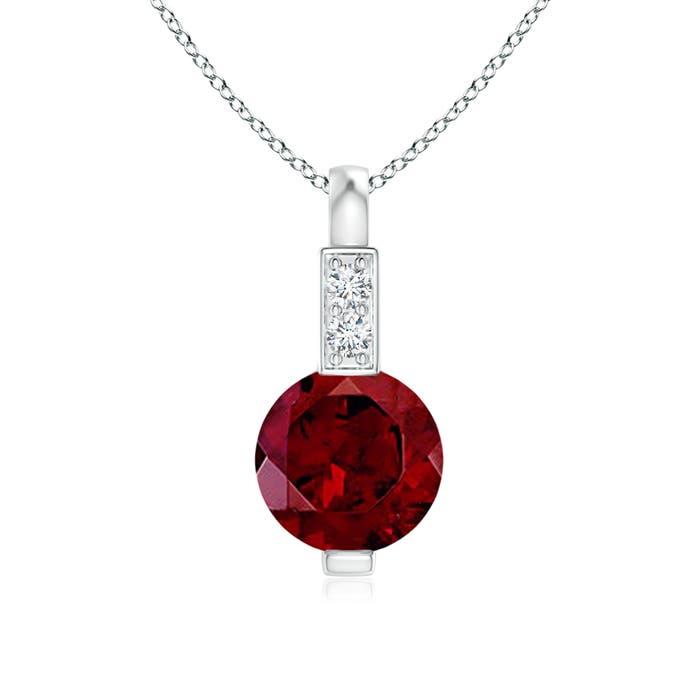 Angara Bezel-Set Garnet Solitaire Pendant with Diamond Nly09
