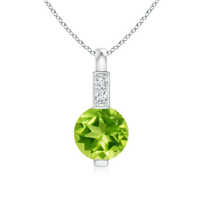 Angara Round Peridot Necklace for Women in Yellow Gold