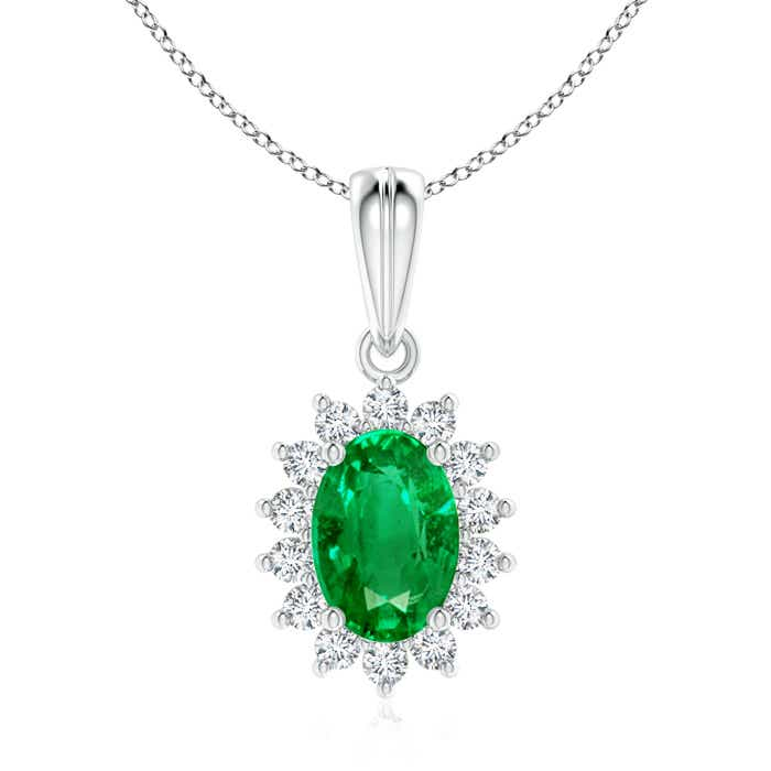 Angara Oval Emerald Flower Pendant with Diamond Halo Vpb2R