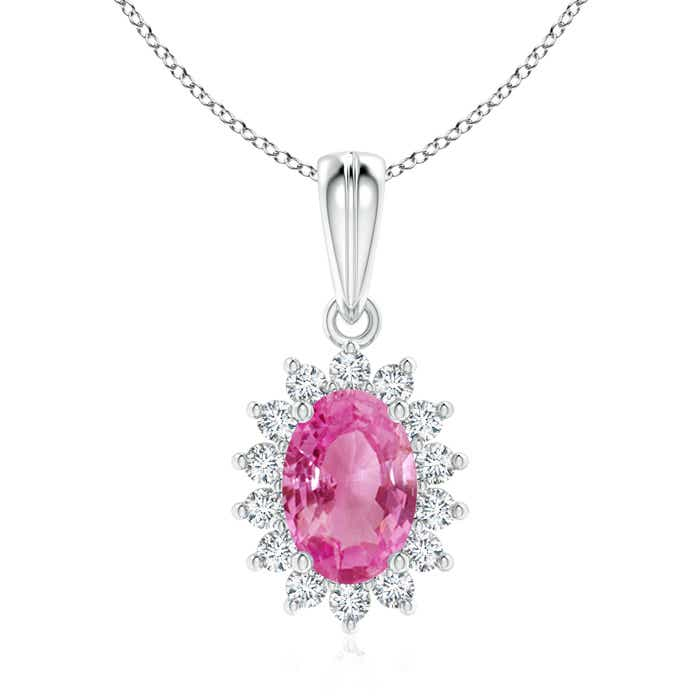 Angara Oval Ruby Pendant with Floral Diamond Halo PYF9WihTZ