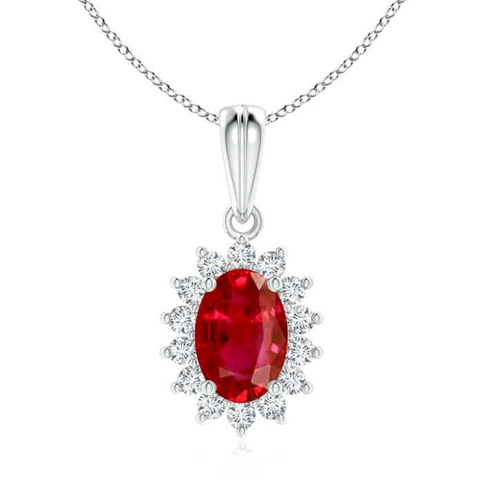 Angara Oval Pink Sapphire Pendant with Floral Diamond Halo v1Hdx