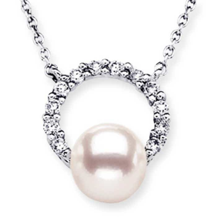 Angara Akoya Cultured Pearl and Diamond Open Circle Pendant Bn4UKr