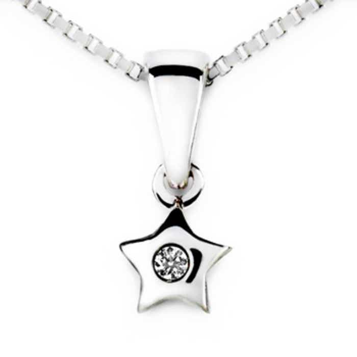 Diamond star pendant in 18k white gold angara 18 inches 18k white gold chain comes free with pendant aloadofball Choice Image
