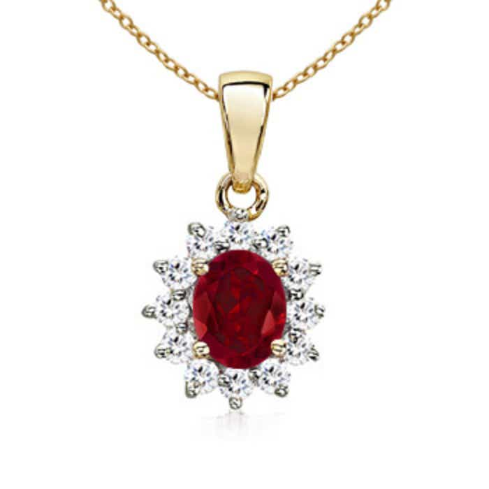 Angara Ruby and Diamond Pendant Necklace in 14k Yellow Gold FKvfCEQp