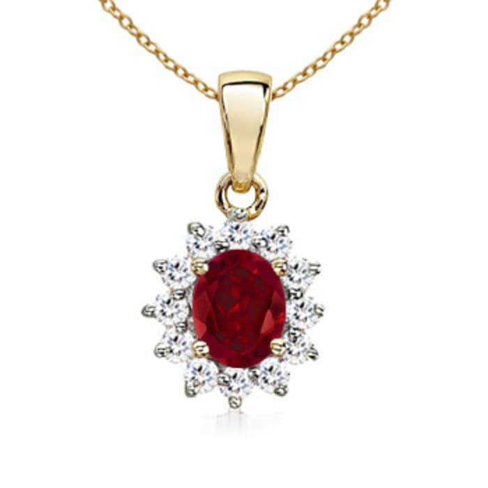 Angara Garnet Necklace Pendant in White Gold lj4en