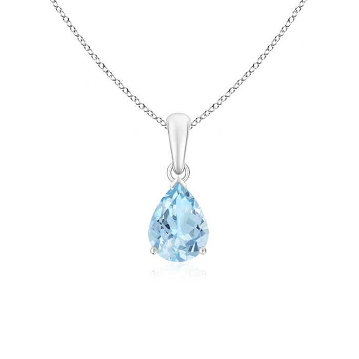 Angara Pear Aquamarine Solitaire Necklace in Platinum