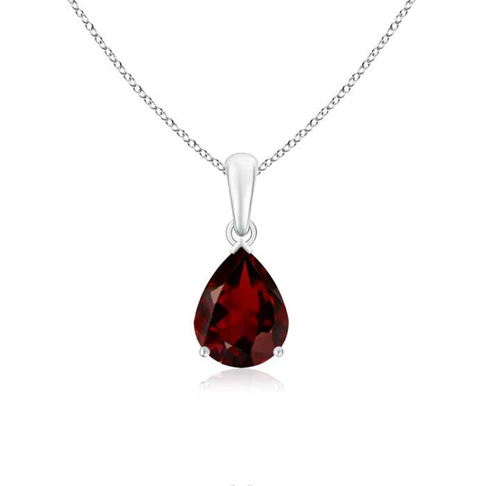 Angara Pear Shaped Garnet and Diamond Drop Pendant in 14K White Gold hgJtdyMy6