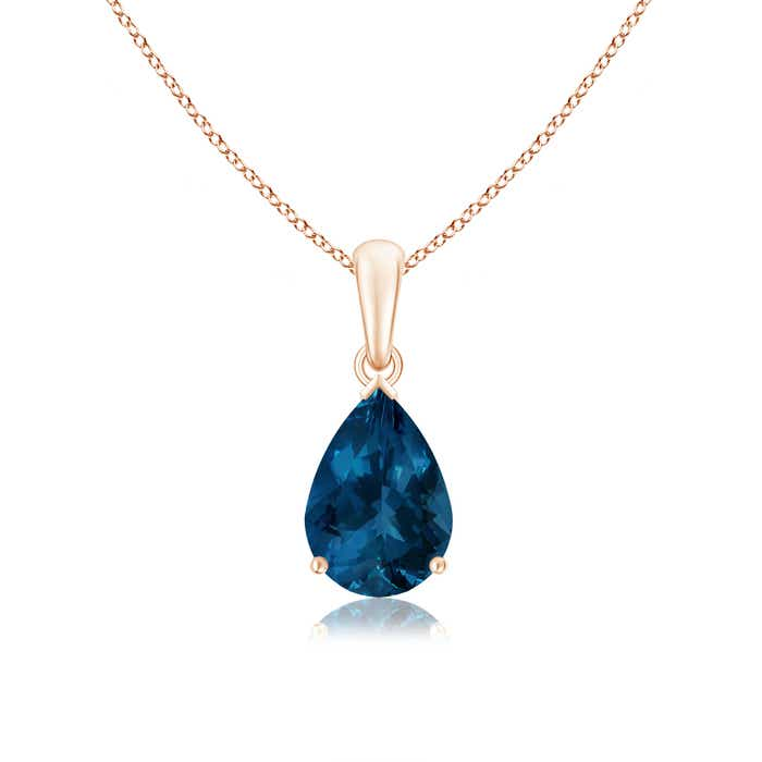Angara Natural London Blue Topaz Necklace in Platinum S7LSozc