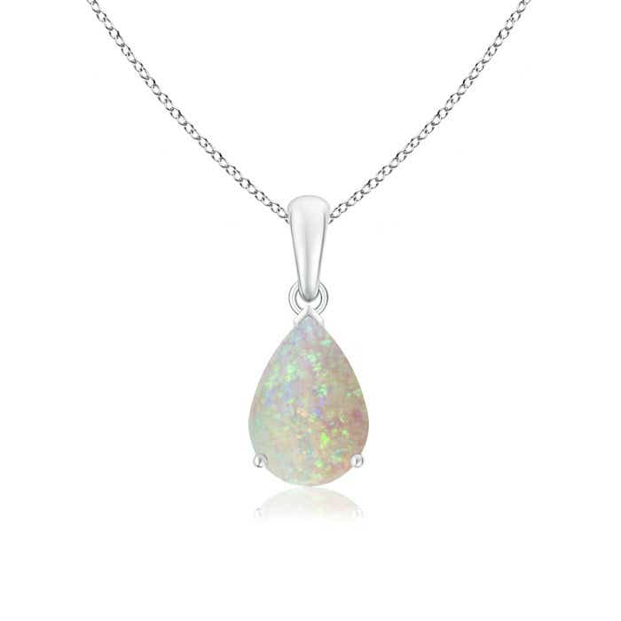 Angara Floating Solitaire Pear Opal Flame Pendant