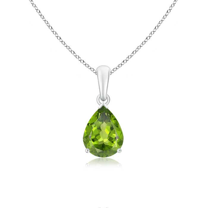Angara Solitaire Emerald Necklace Pendant in 14k White Gold