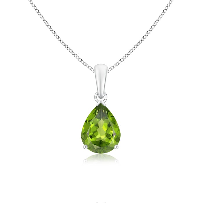 Angara Pear Shaped Emerald Necklace in Rose Gold VAC658Vj