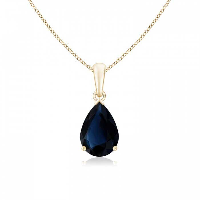 Angara Blue Sapphire Teardrop Pendant - GIA Certified Blue Sapphire Necklace in 18k Rose Gold mtWRG