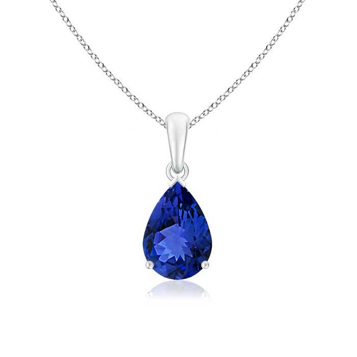 Angara Pear Shaped Tanzanite Necklace in Rose Gold