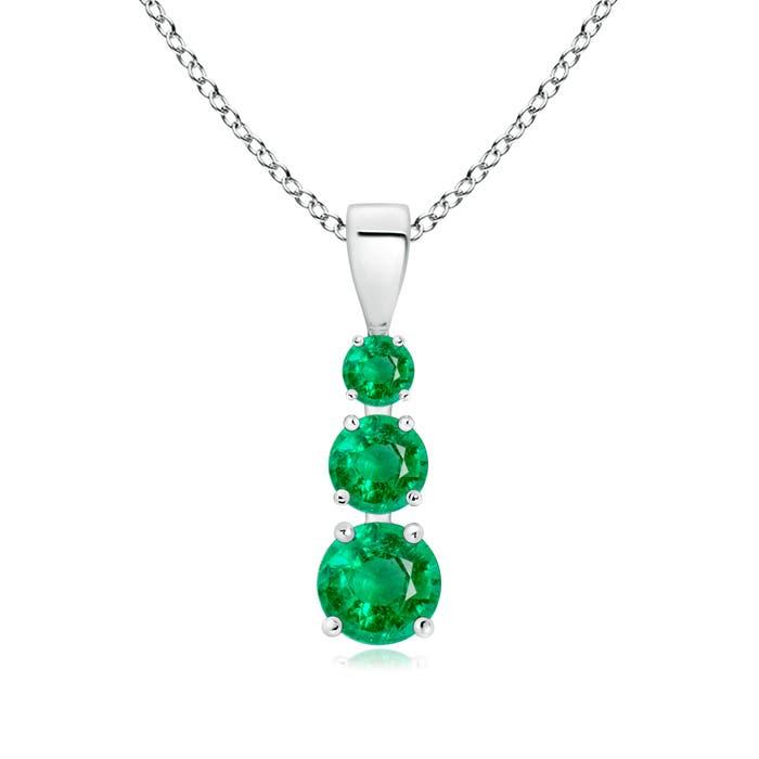 Angara Five Stone Round Emerald Journey Pendant FcpbErm