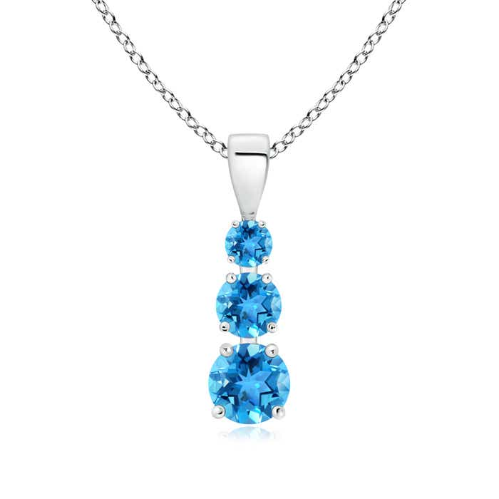 Angara Round Swiss Blue Topaz Bezel-Set Necklace for Her in Rose Gold aKbMRkEq
