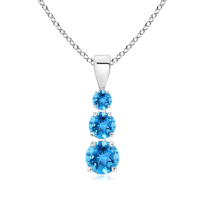 Angara Round Swiss Blue Topaz Necklace for Women in Yellow Gold 0XNAOF6l3U