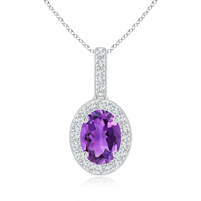 Angara Yellow Gold Diamond Halo Amethyst Drop Necklace TTZgJn96Q