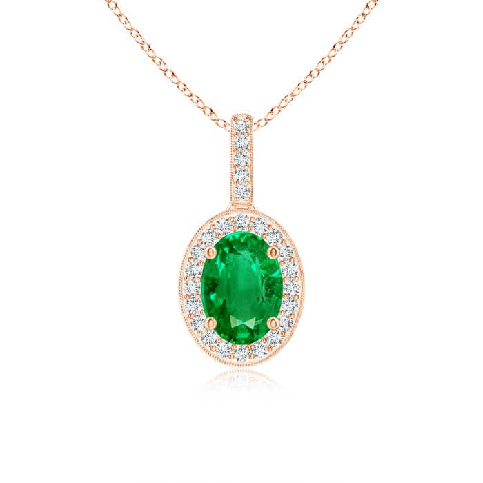 Angara Oval Emerald Flower Pendant with Diamond Halo Wstsa