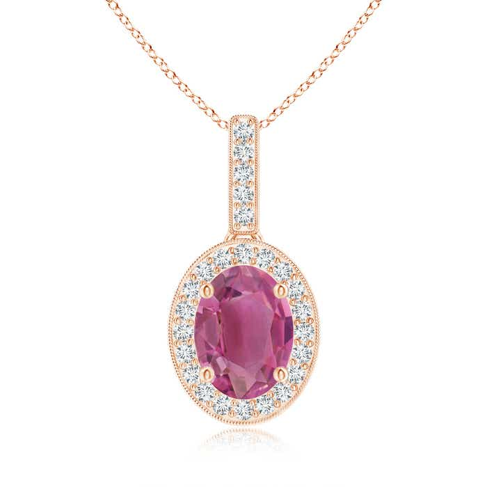 Angara Vintage Style Ruby Pendant with Diamond Halo ONHtuc4mG