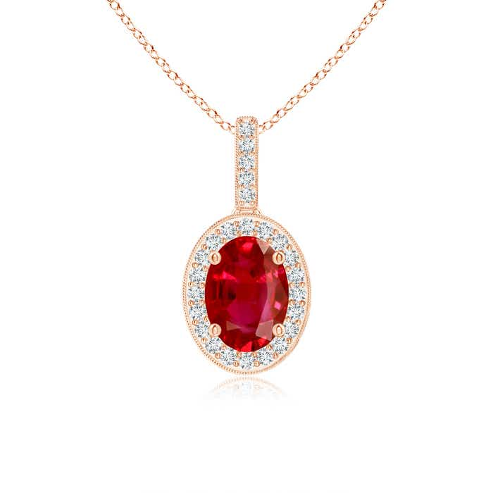Angara Oval Ruby and Diamond Vintage Necklace in 14k White Gold Y1OmCFfC