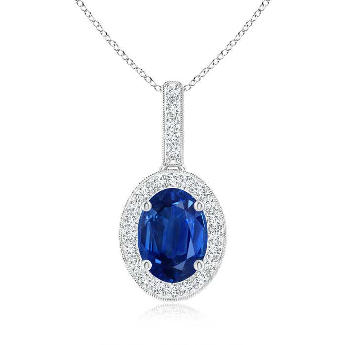 Angara Vintage Inspired Sapphire Pendant with Diamond Halo in Platinum uIsiZV