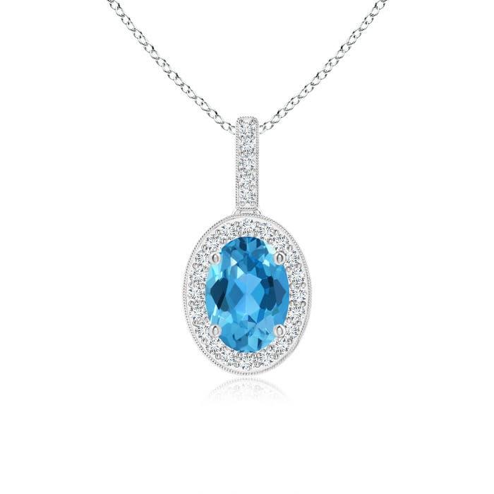 Angara Vintage Style Oval Swiss Blue Topaz Pendant with Diamond Halo 6QRcXgu
