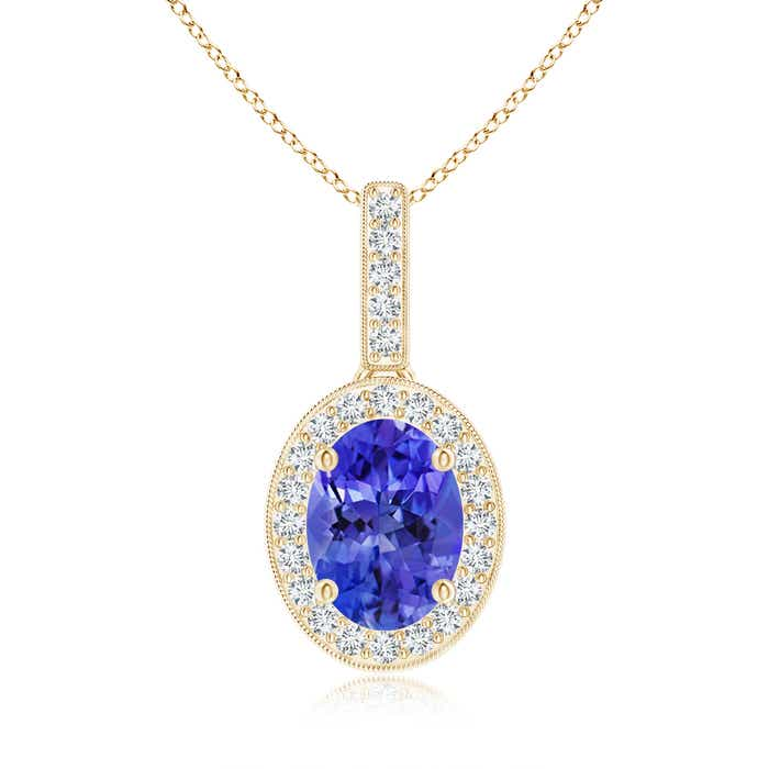 Angara Oval Tanzanite Flower Pendant with Diamond Halo