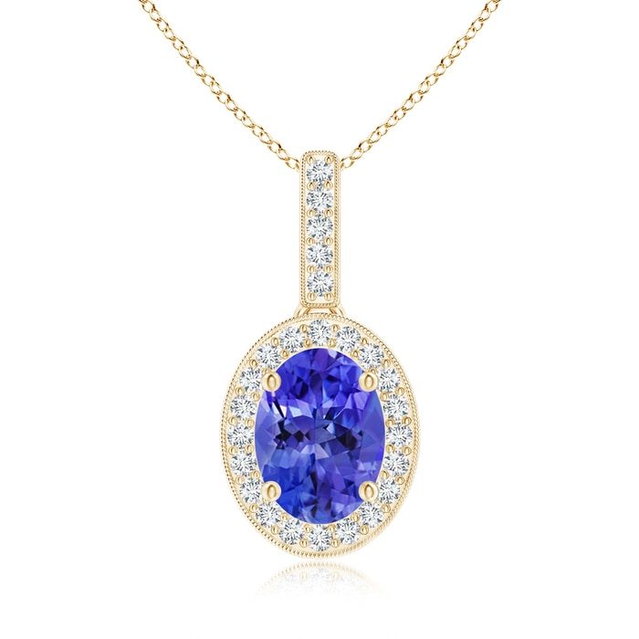 Angara Oval Tanzanite Flower Pendant with Diamond Halo ehXRbfg2