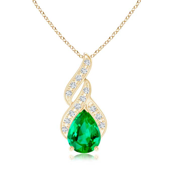 Angara Solitaire Pear Emerald Pendant with Diamond in Rose Gold gYn26Hc