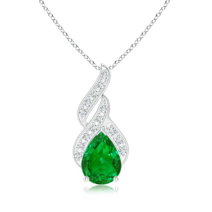 Angara Emerald Flame Necklace in Platinum d3jLj