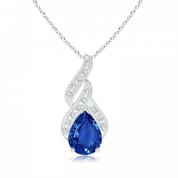 Angara Sapphire Solitaire Necklace - GIA Certified Sapphire Pendant in Rose Gold fvwnSxM7p