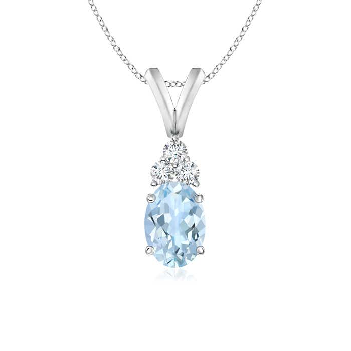Angara Oval Aquamarine Solitaire Pendant with Diamond VSHseD1F