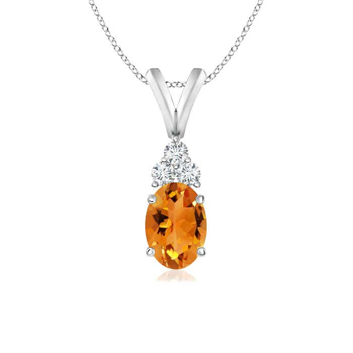 Angara Oval Citrine Solitaire Pendant with Diamond nYFivp