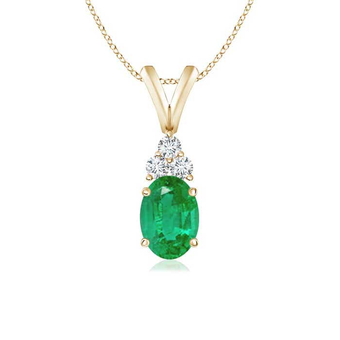 Angara Emerald Solitaire Pendant in White Gold oVTqM2