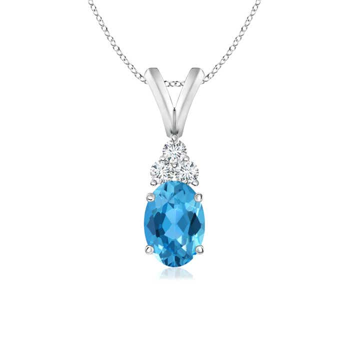 Angara Swiss Blue Topaz Diamond Solitaire V-Bale Pendant in Rose Gold for Her