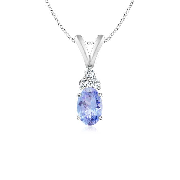Angara Oval Tanzanite Wishbone Pendant with Diamond Accents