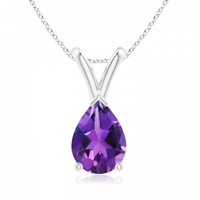 Angara Pear-Shaped Amethyst Solitaire Pendant IqDbhwy