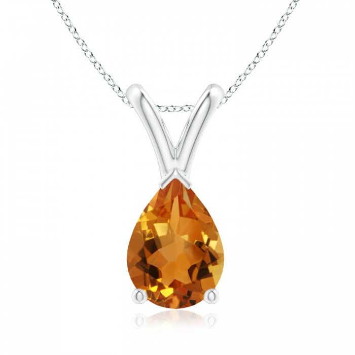 Angara Pear Shaped Citrine Teardrop Necklace in Platinum X5JUisTH