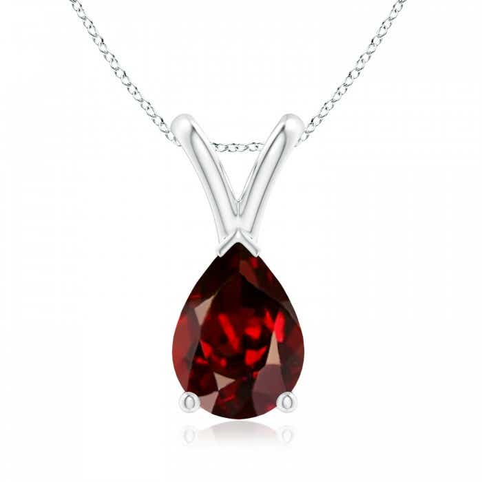 Angara V-Bale Garnet Pendant Necklace Rose Gold LCWNKv