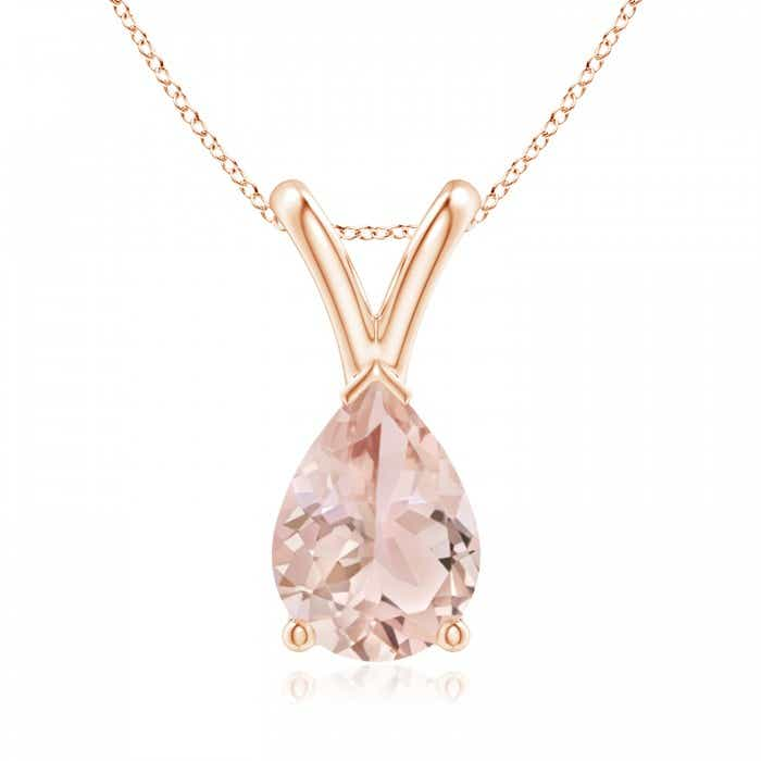 Angara Morganite Solitaire Necklace in Yellow Gold Wukpu