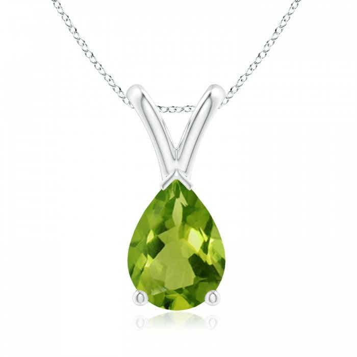 Angara Pear Shaped Peridot and Diamond Drop Pendant in 14K White Gold