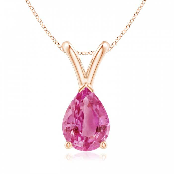 Angara Pear Shaped Pink Sapphire Diamond Necklace in 14k Rose Gold