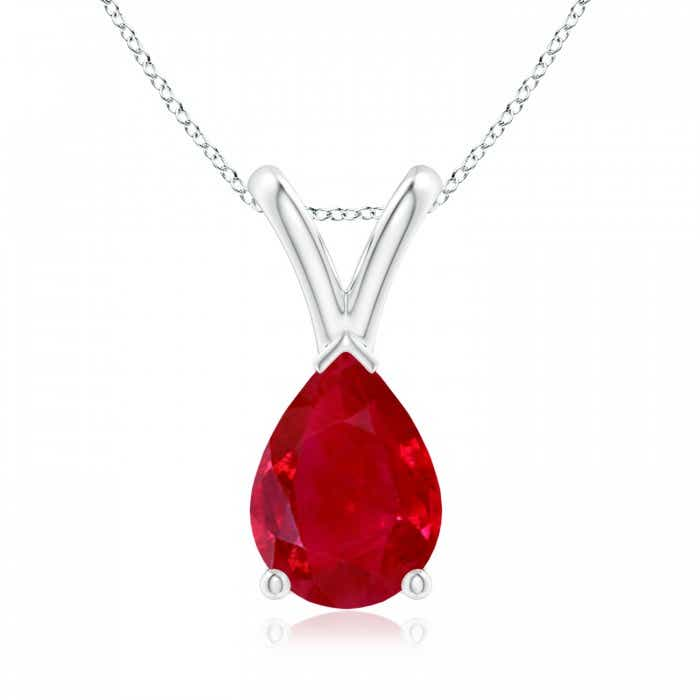 Angara Solitaire Ruby V-Bale Pendant in Yellow Gold BiceDK