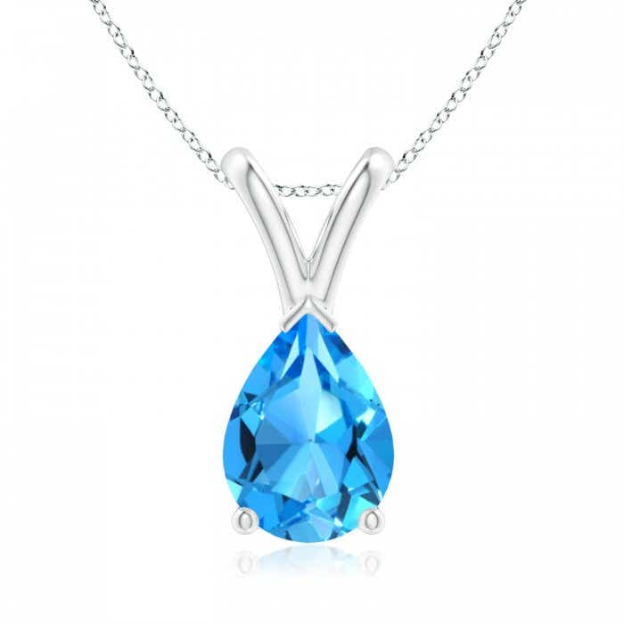 Angara V-Bale Swiss Blue Topaz Pendant Necklace Platinum 0YBCr09