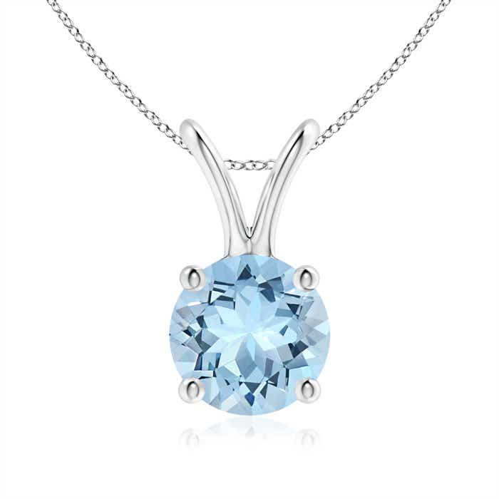 Angara Round Aquamarine Solitaire V-Bale Pendant with Diamond