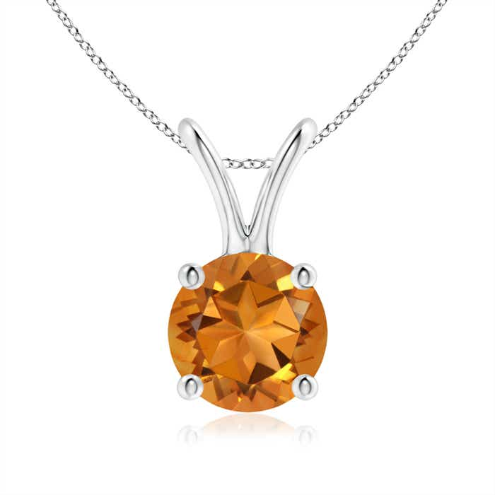 Angara Round Citrine Solitaire Pendant with Diamond Bale in White Gold ok602ipd