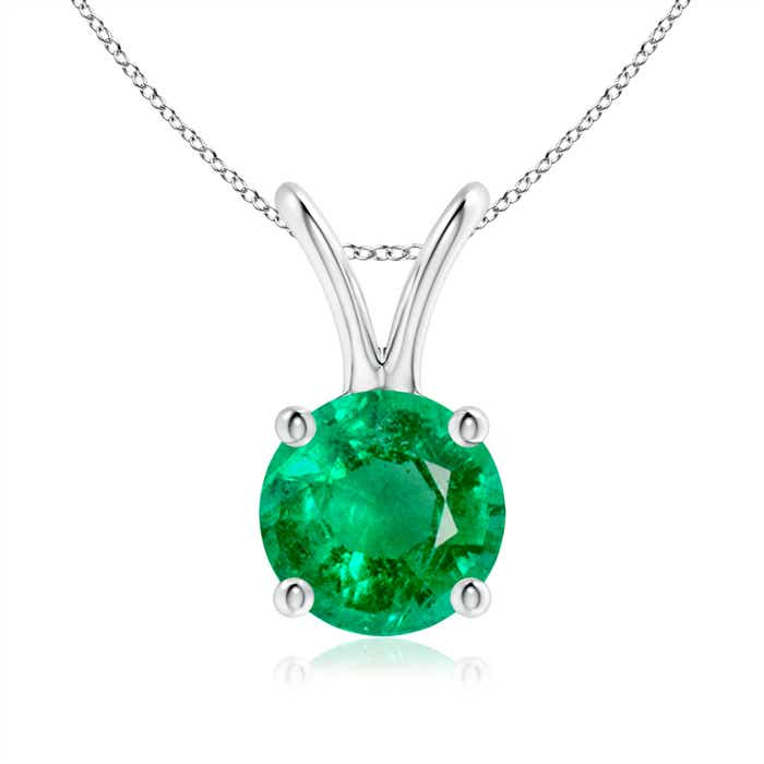 Angara 6mm Round Green Emerald Pendant in Platinum uIBykV