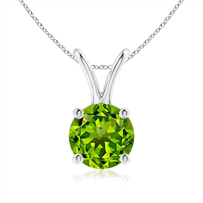 Angara Round Peridot Solitaire Pendant with Diamond Bale