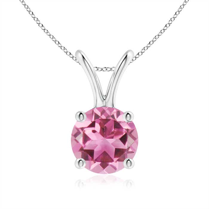 Angara Solitaire Round Pink Tourmaline Pendant with Diamond Bale