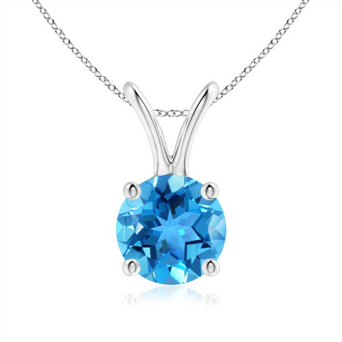 Angara Solitaire Swiss Blue Topaz V-Bale Pendant in Rose Gold zZclJ